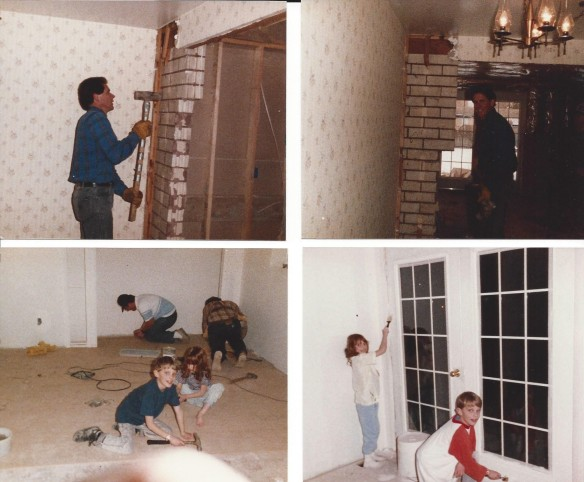 Top: Left Don knocking out the brick wall into the new addition Bottom: Left - Chris, Katie, Dad and Mick nailing the top floor down. Right - Chris and Katie painting our the new room.