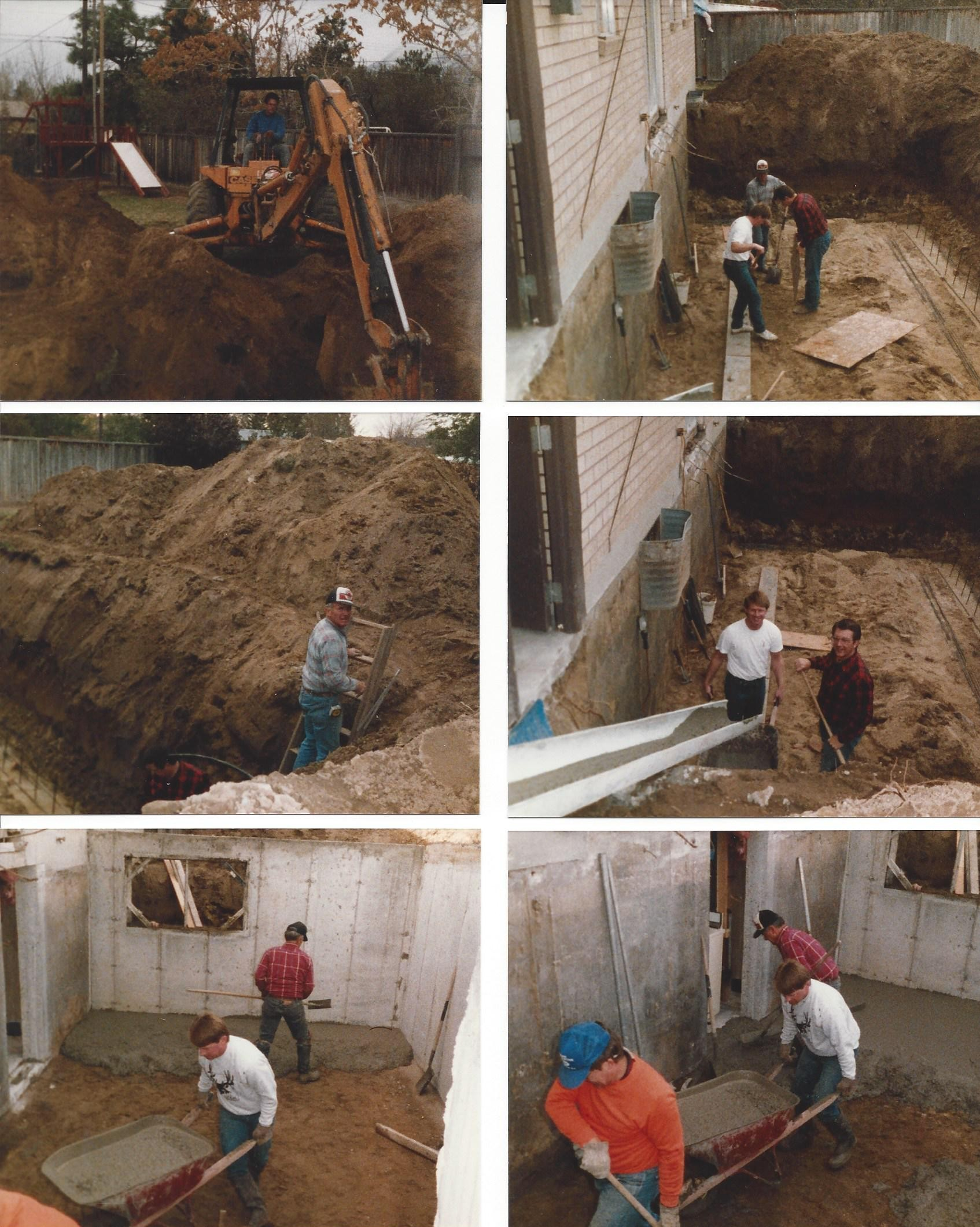 Top: Left - Don breaking ground. Right - Steve, Mick, Dad preparing for footings. Middle: Left- Dad. Right - Steve and Mick pouring the footings. Bottom: Left - Steve and Dad. Right - Mick, Steve and Dad pouring the cement floor.