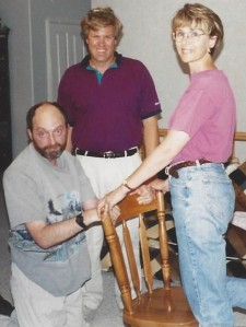 Mark doing tall kneeling exercise with Lee & Kathy Sadler
