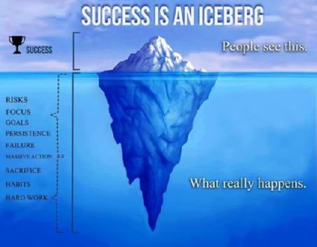 An iceberg represents success