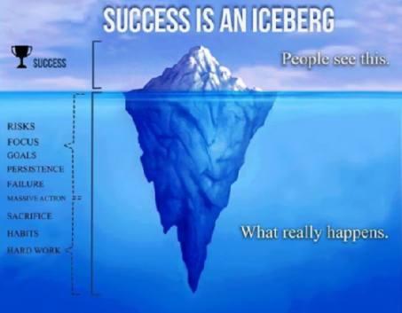 An iceberg represents success