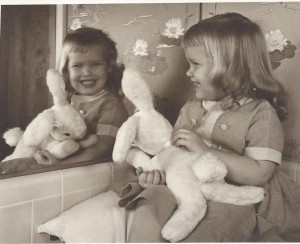Me at two years old loving my stuff animal.