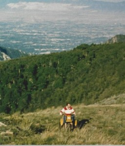 1990- Mark climbing Mt. Air