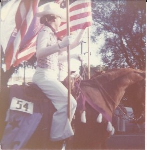 Closeup of Star and I carrying the American Flag
