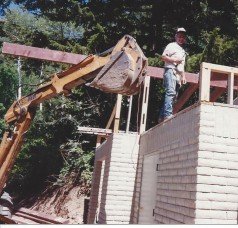 Dad building shed
