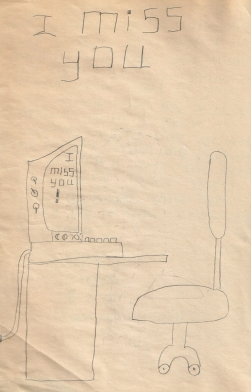 Christopher's drawing of his dad's home office desk. I love the details and the message on the computer screens message. May 1991