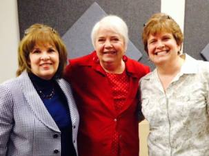 Not the most flattering picture of me, but the only one I have with my writing teacher, Brenda Bench (in the red) and favorite classmate, Susan Knight (in the blue).