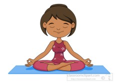 girl practicing meditation yoga while sitting on mat clipart